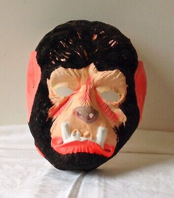 Vintage HALLOWEEN MASK WOLFMAN Flocked Fur Face vgc - Wolfman Halloween Masks