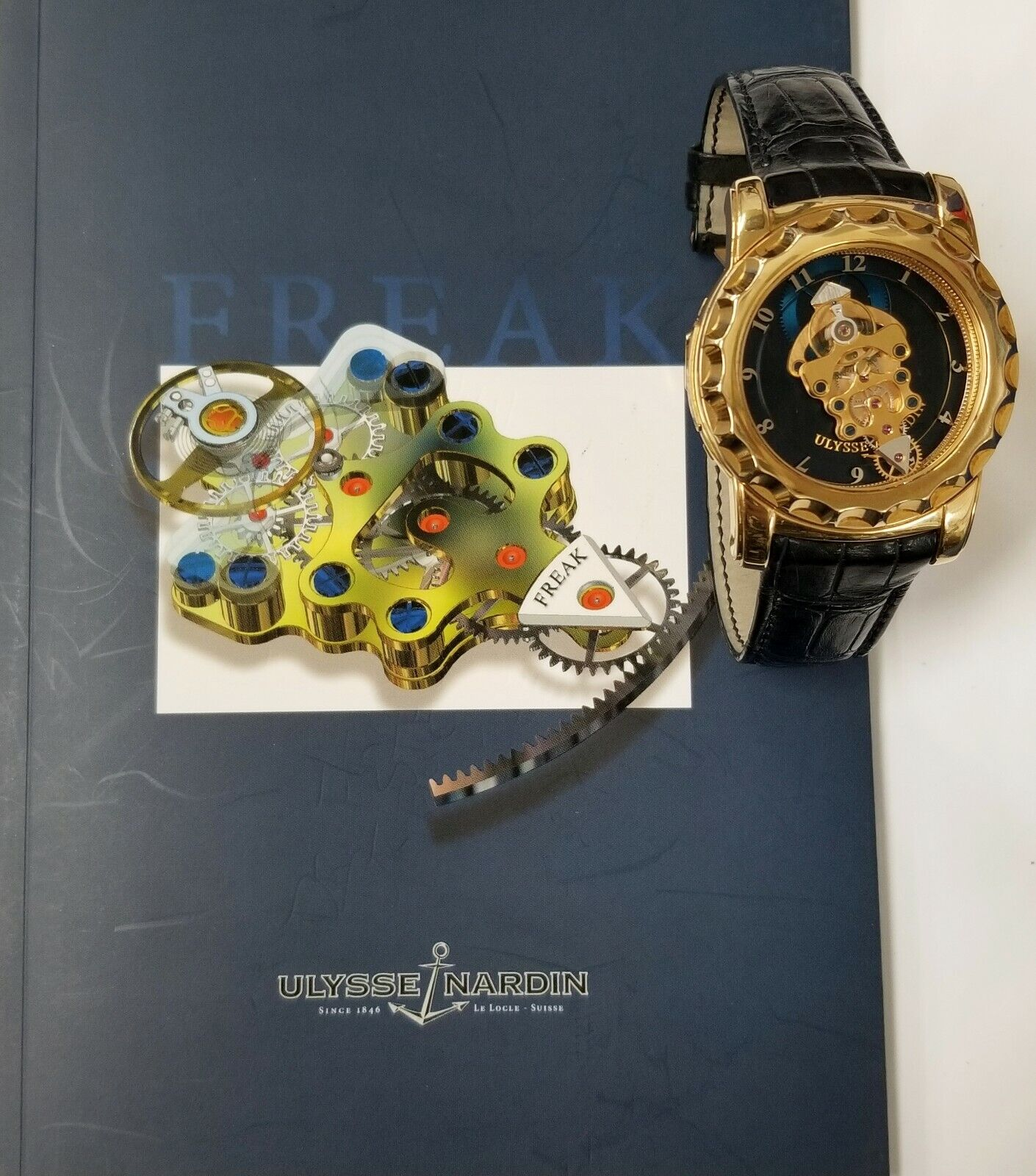 Ulysse Nardin Freak Tourbillon 18k Gold Watch  Deployant Clasp Box Papers 016-88 - watch picture 1