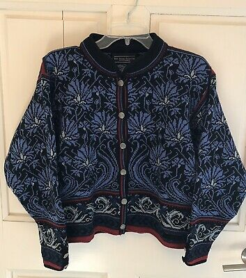 Dale of Norway Casual Collection Cardigan Sweater Blue Floral Women's Medium Dale Norway Black Sweater
