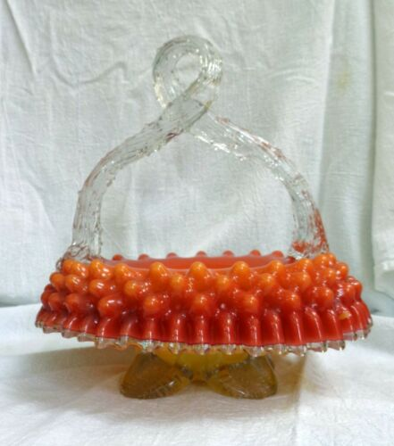 VICTORIAN PEACHBLOW Glass BASKET Thorn Handle INVERTED DIMPLE Crimped FOOTED
