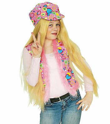 Kostüm Hippie Kinder Weste Herzchen bunte Kinderweste Fasching Karneval ()