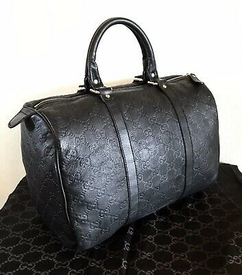 Gucci Black Leather GG Guccissima Boston Handbag Embossed Satchel Tote Bag