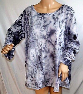 Vogo Curvy Women Plus Size 1x 2x Tie Dye Gray Charcoal Sweater Knit Top Shirt