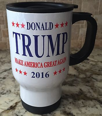 Travel Coffee Tea Mug Stainless Steel White Donald Trump President New