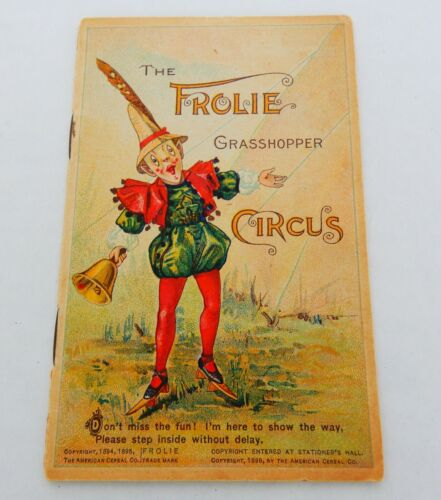"""""""The Frolie Grasshopper Circus"""" Quaker Oats advertising trade booklet 1895"""