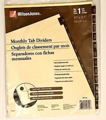 Wilson Jones Month Dividers 12 Leather Tabs For Standard 3 Ring Binder 11x8.5