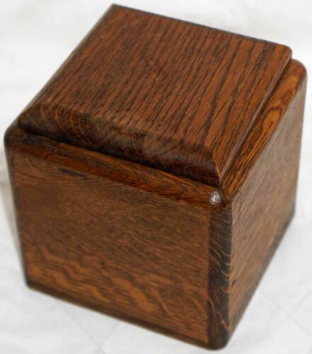 Cool Old Solid Oak Wooden Box with Lid Square Shaped