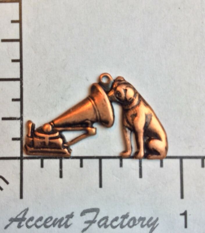 40825       2 Pc Copper Oxidized Dog w/Vintage Victrola Charm Jewelry Finding