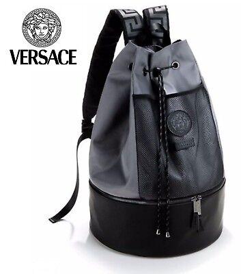 VERSACE Designer Black and Grey Medusa Backpack / Rucksack / Gym / College. NEW