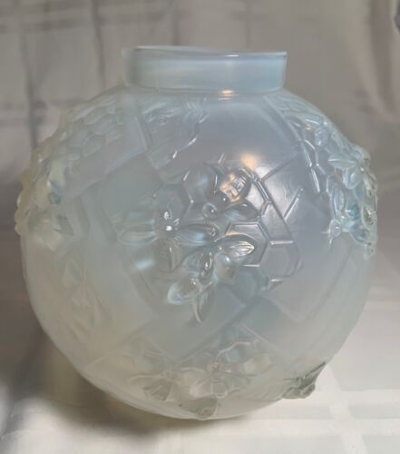 SIGNED SABINO OPALESCENT VASE WITH BEES AND HONEYCOMBS...MINT