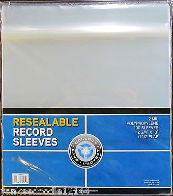(100) New CSP 33 1/3 RPM Record Album Clear Polypropylene RESEALABLE Sleeves