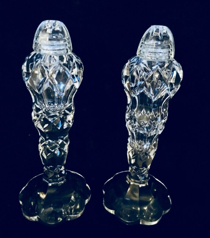 Vintage Bohemian Crystal Salt And Pepper Shakers  (1372)