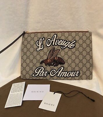 NEW GUCCI BEE L' Aveugle Par Amour Brown Leather, GG Canvas Handbag Clutch Pouch