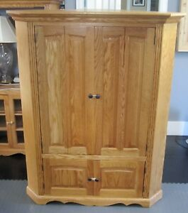 Oak Wood Furniture Corner TV Cabinet Hutch Corner Entertainment Center
