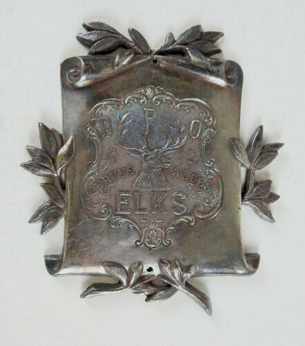 Vintage Elks BPOE Silverplate Casket Coffin Plaque NOS