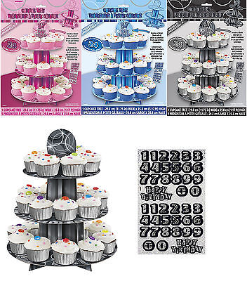 Customisable Any Age 3 Tier Birthday Party Cupcake Stand Tree Decoration ()