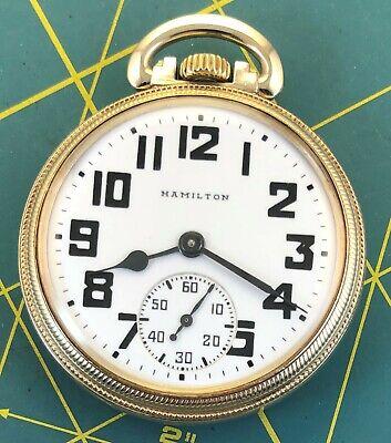 221 Hamilton 992B Yellow GF Railroad Pocket Watch 16 size 21 jewel Circa: 1946