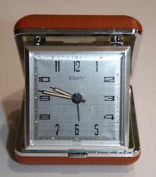 Vtg Equity Wind Up Fold Out Case Travel Alarm Clock EUC