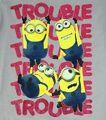 Nwt  Despicable Me Minions Purple Trouble T Shirt Lavender Pink Glitter Writing