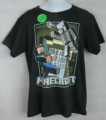 Minecraft Boys T-Shirt New Officially Licensed Steve Vindicator Glows in - Minecraft T Shirts