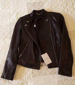 Brand New Designer Cole Haan Black Leather Jacket