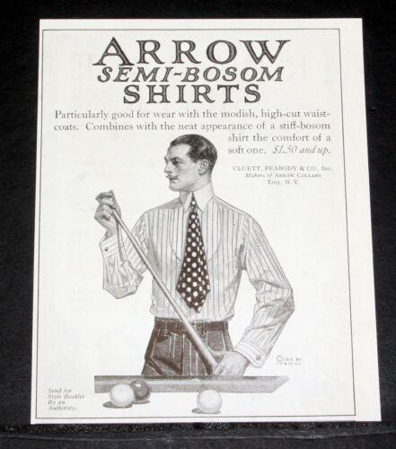 1913 OLD MAGAZINE PRINT AD, CLUETT, ARROW SEMI-BOSOM SHIRTS, PARTICULARLY GOOD!