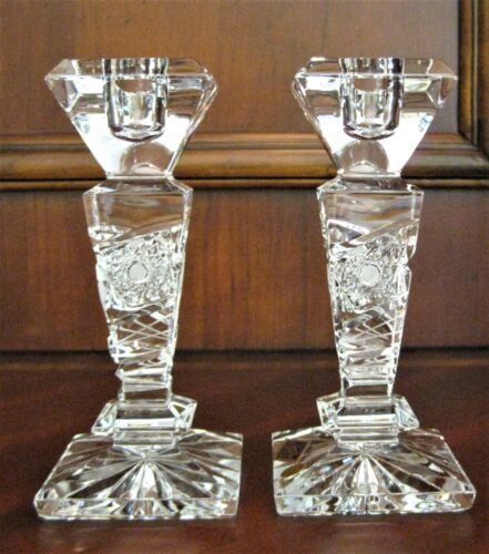 """Bohemian Czech Vintage Crystal 6.2"""" Tall Candle Stick Pair Hand Cut 24% Lead"""