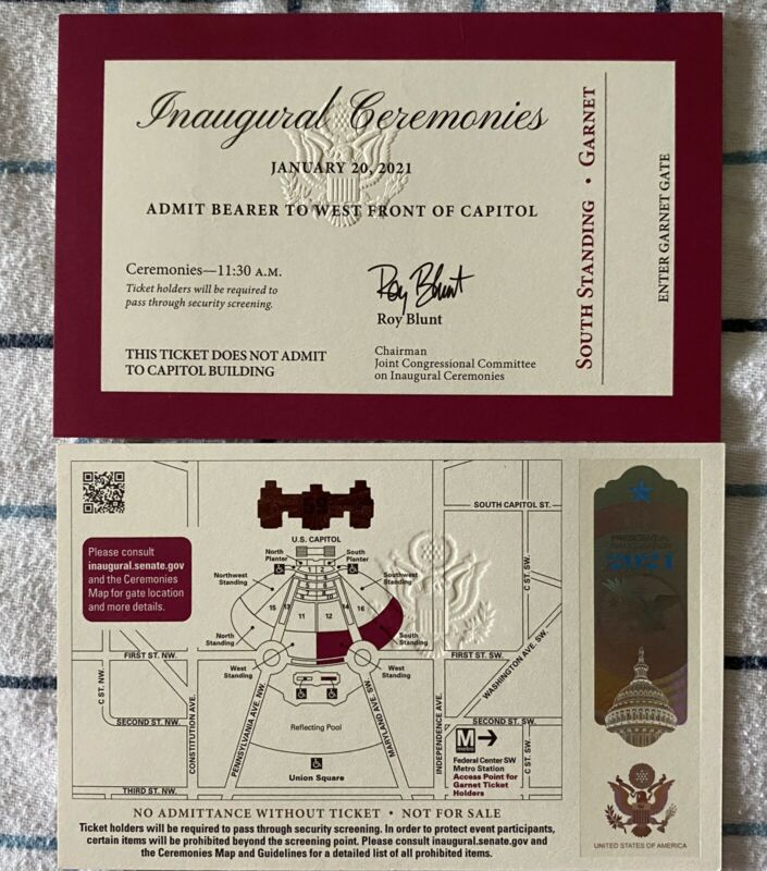 Joe Biden Inauguration Ticket Burgandy W/ Hologram