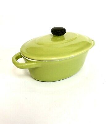 PRATIC Brand Ceramic Mini Cocotte Lime Green Individual Casserole Dish