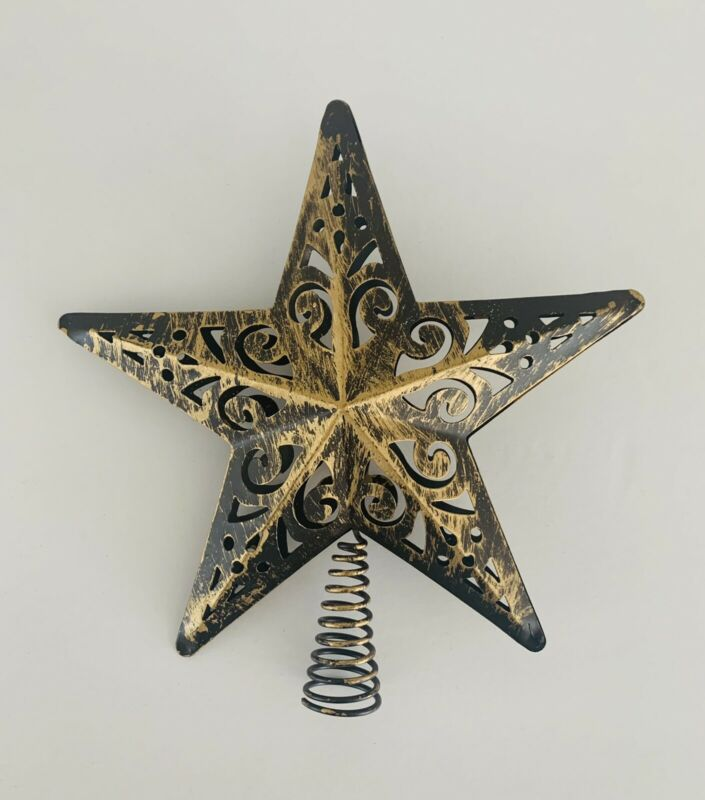 """Small Farmhouse Rustic Gold Bronze Metal Christmas Holiday Tree Topper Star 8"""""""