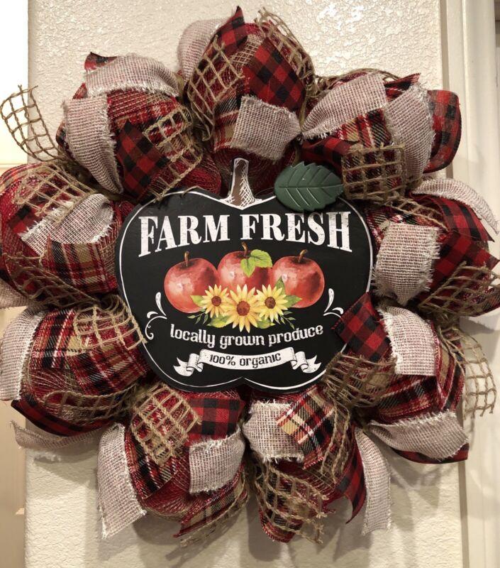"FARMHOUSE APPLE 🍎 BUFFALO CHECK Deco Mesh WREATH Fall HARVEST 24"" X 24"" AUTUMN"