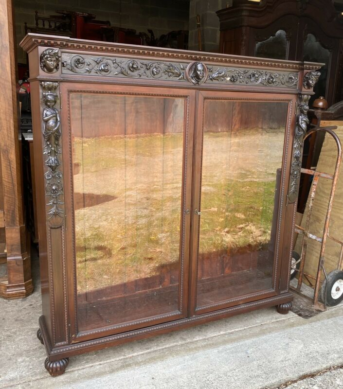 PAINE'S FURNITURE CO. 2 DOOR CARVED LADY MAHOGANY BOOKCASE