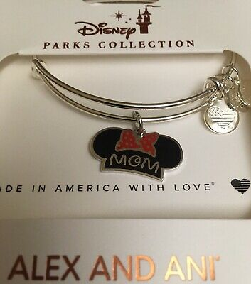 Disney Alex and Ani Minnie Mouse MOM Ear Hat Mother's Day Silver Bracelet NEW