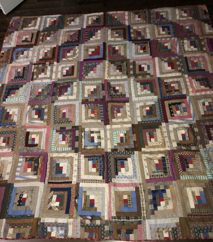 Antique Log Cabin Quilt With Great Fabrics