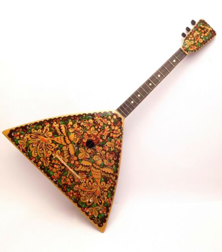 Original Russian Folk Instrument Balalaika 3 string one copy hand painted 1986