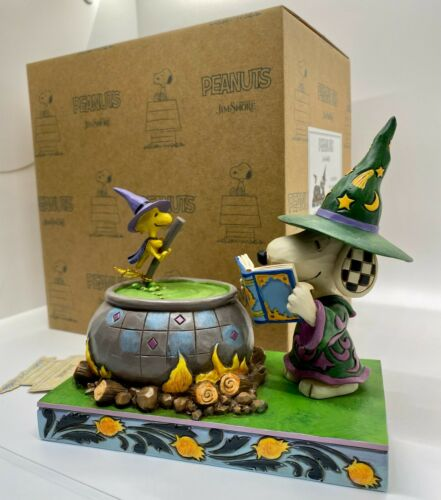 """Witch Snoopy & Woodstock """"BEWITCHING BEAGLE"""" Figure Jim Shore PEANUTS Halloween"""