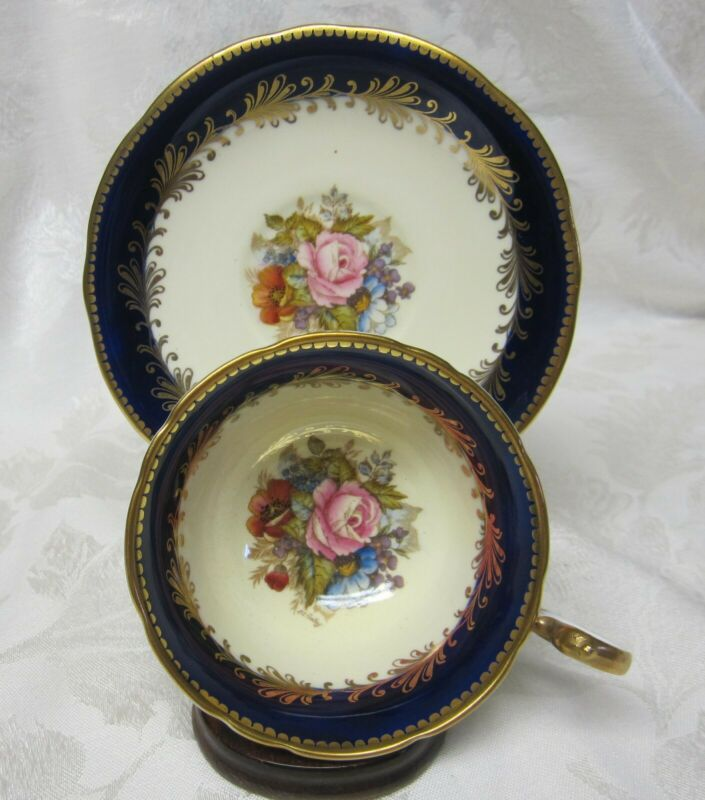 AYNSLEY CABBAGE ROSE COBALT & GOLD SCROLL CUP & SAUCER SET SIGNED BAILEY C 993