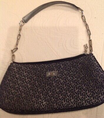 VICTOR HUGO VH embossing Black leather shoulder bag with chain Unique***NEW