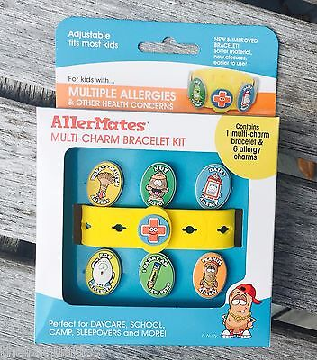 AllerMates Allergy Peanut Nut Alert WRISTBAND Medical ID Bracelet Multi CHARM