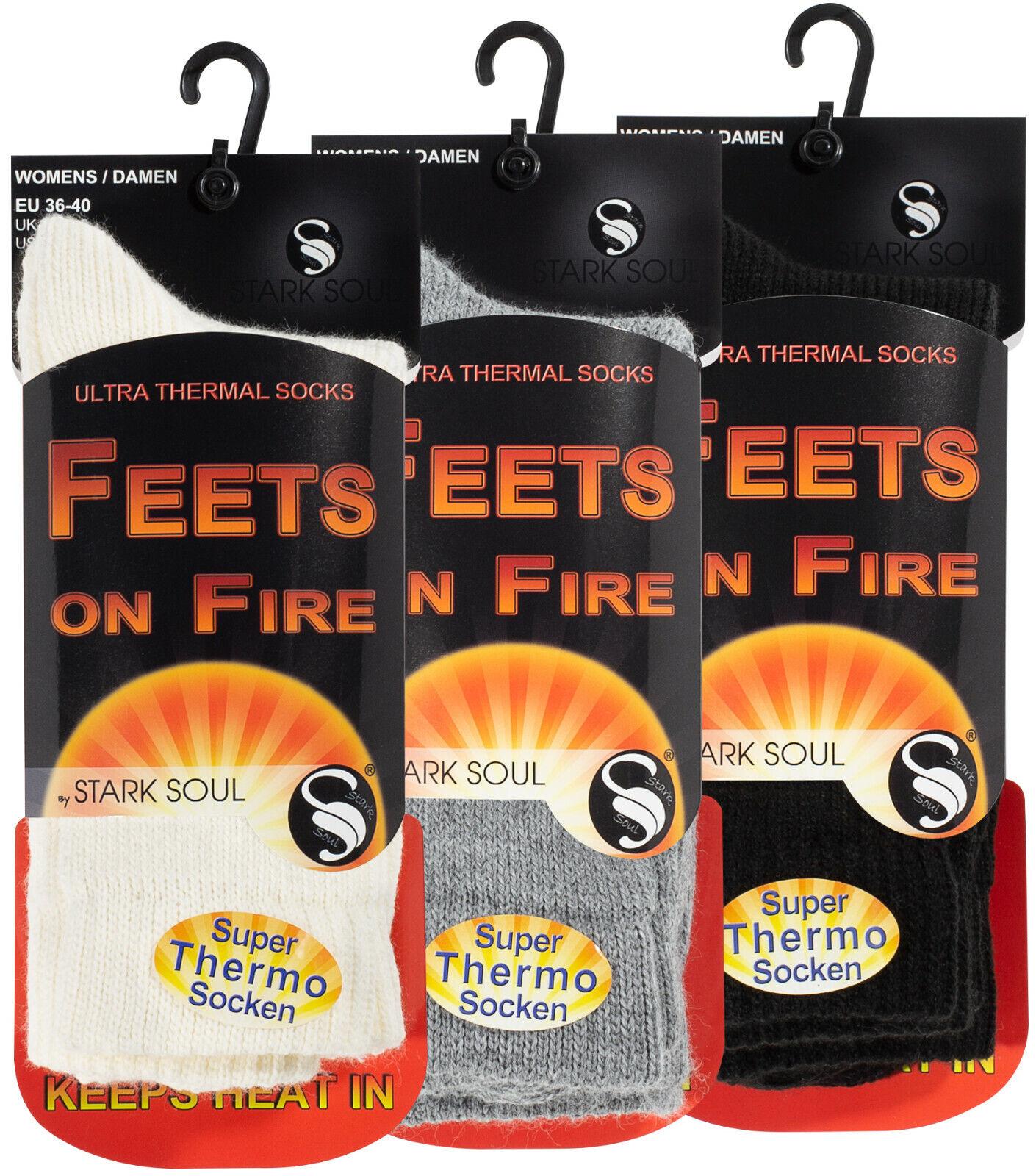 2 Paar Damen Thermo Socken FEETS on FIRE warme dicke Winter Socken (GR.: 36-40)