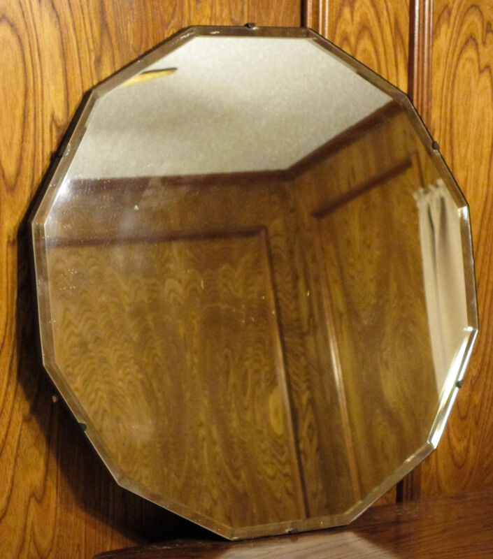 """Vintage 20"""" Rounded Beveled Glass Mirror"""