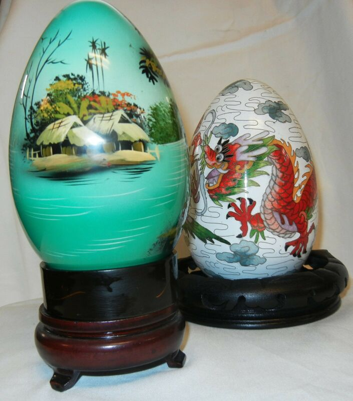 Two Vintage Decorative Ceramic Chinese/Japanese/Asian Eggs Hand Painted