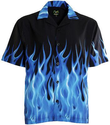 Bennys Blue Flames Bowling Shirt