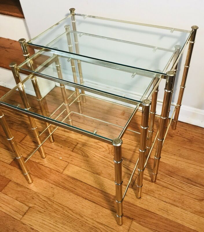 Vintage Nesting Tables Gold Forged Brass Bamboo Style 80s MCM Hollywood Regency