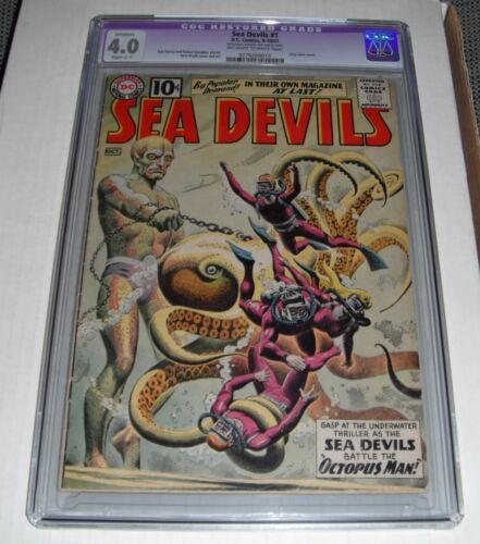 Sea Devils # 1..CGC Restored slab 4.0  VG grade--ci..1961 comic book..Tear seal