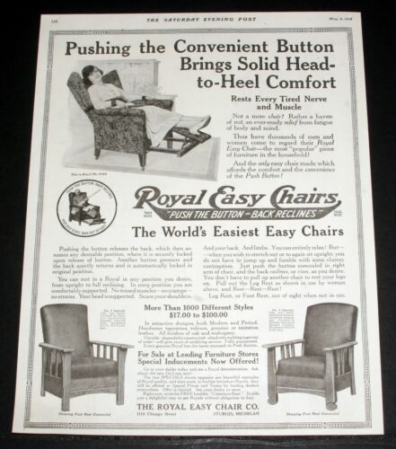 1918 OLD MAGAZINE PRINT AD, ROYAL EASY CHAIRS, PUSH THE BUTTON, BACK RECLINES!