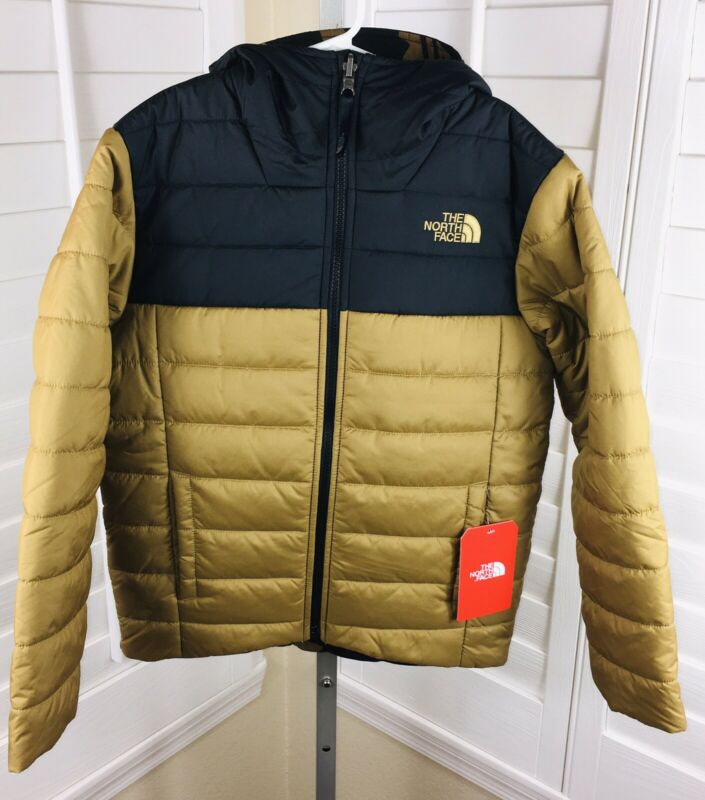 Sample $100 The North Face Boys Reversible Perrito Jacket  Gold/Black Sz M 10-12