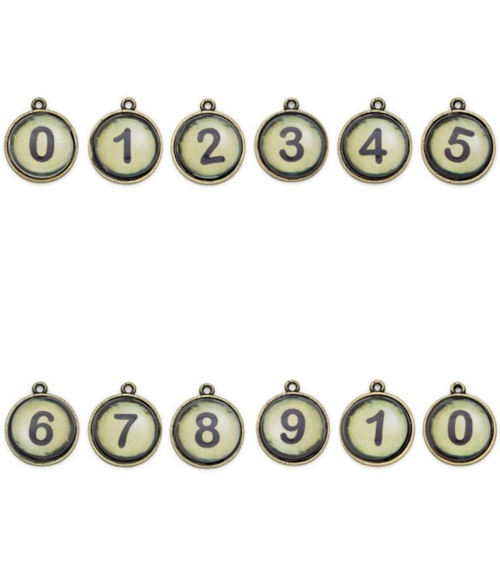Typewriter Keys Steampunk Vintage Style Antiqued Brass # 0-10 Charms Lot of 12