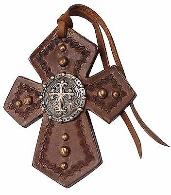 Tooled Leather Tie On Cross Western Saddle Copper Cross Concho Horse Tack NEW