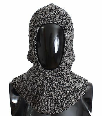 NWT $500 DOLCE & GABBANA Gray Wool Cashmere Crochet Hood Scarf Hat One Size